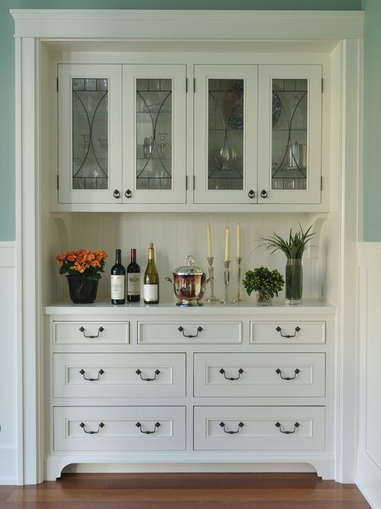 Lovely White Buffet Cabinet with Glass Doors