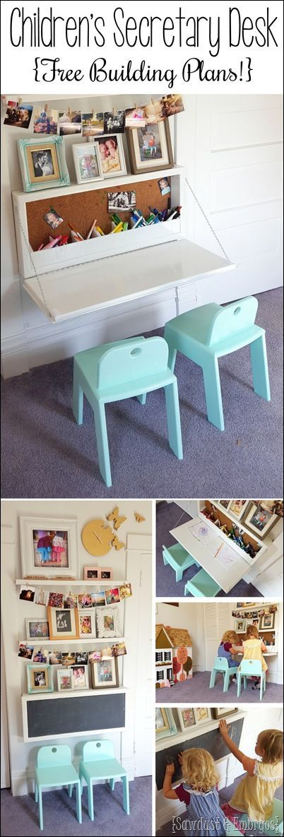Wall-mounted Secretary Desk for kids... like a murphy table with storage inside! {Reality Daydream}