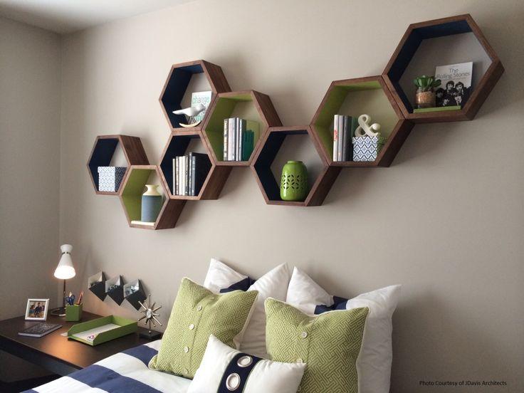Geometric Wood Shelves  Honeycomb Shelves  by HaaseHandcraft, $199.00