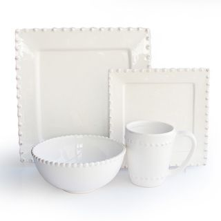 American Atelier Bianca Bead White Square 16-piece Dinnerware Set (White) (Earthenware Solid)  sc 1 st  Pinterest & 1406 best Dinnerware images on Pinterest | Dish sets Kitchen dining ...