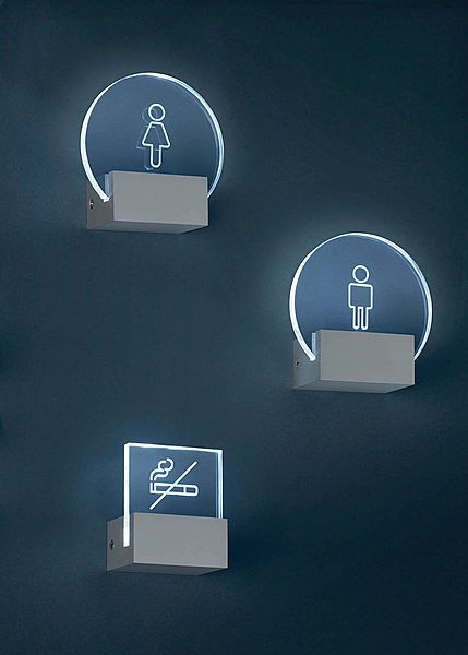 LED Edge-lit engraved acrylic wayfinding signs