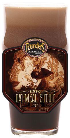 Cerveja Founders Nitro Oatmeal Stout, estilo Oatmeal Stout, produzida por Founders Brewing, Estados Unidos. 4.5% ABV de álcool.