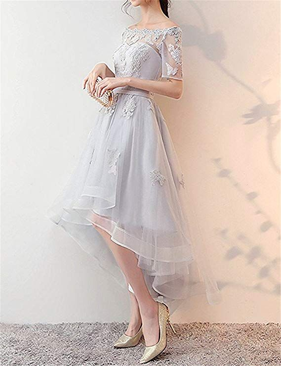 37aaa71bde6 NOVIA Women s Off Shoulder High Low Lace Prom Dress Half Sleeves Evening  Gown 10