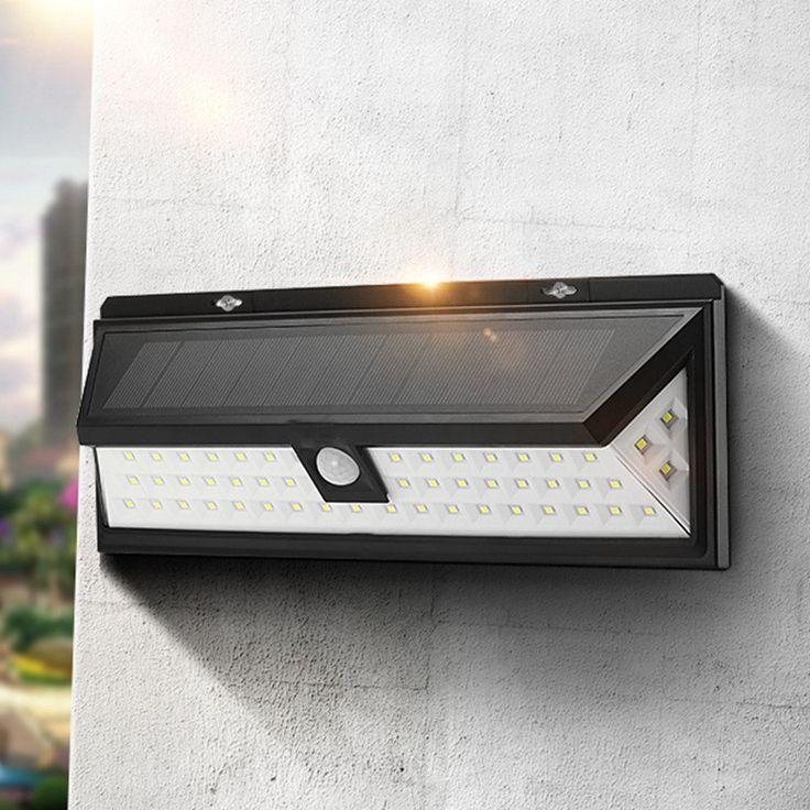 Solar Power 6W PIR Motion Sensor 54 LED Solar Powered Security Light Waterproof, Wide Angle
