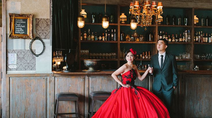 A glamour prewedding photography of Willyam & Tania at The Bistrot Bali. Discreetly situated behind a beautiful temple but roadside on the very popular 'Eat Street' of the Seminyak area of southern Bali, this restaurant and bar has been conceptualized and lovingly put together by the formidable Morrocan and Belgian team of Zohra and Blaise. With the the discerning décor along with retro feel this place are perfect for a backdrop for your bali photographer to explore the glamour photography.