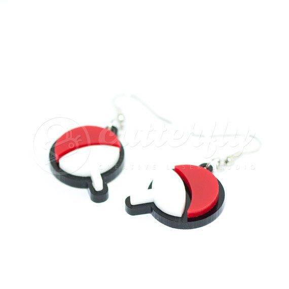Naruto Uchiha Clan Earrings by CutterflyStudio on Etsy.