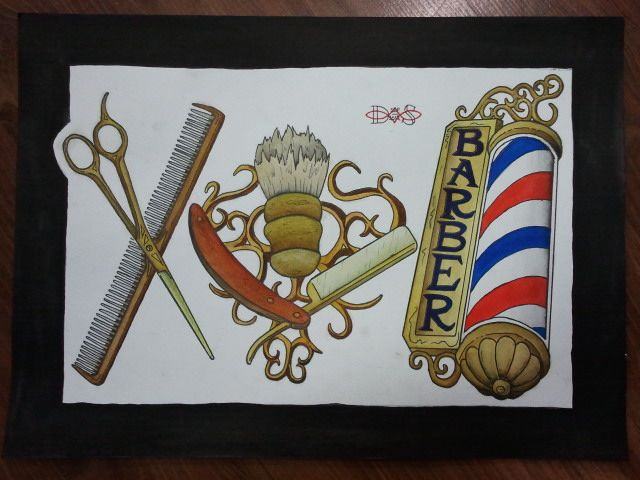 Examples Of Barbershop Tattoos With Barber Pole Straight