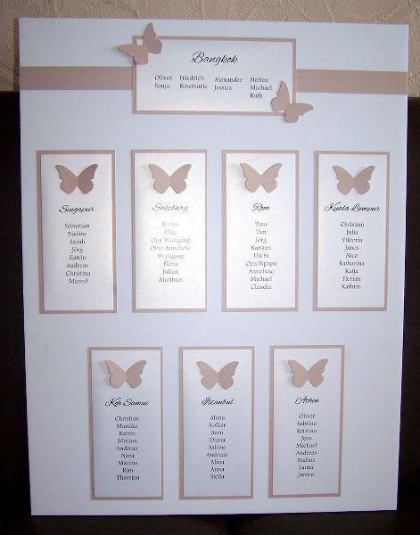 Tischplan dezent mit Schmetterlingen