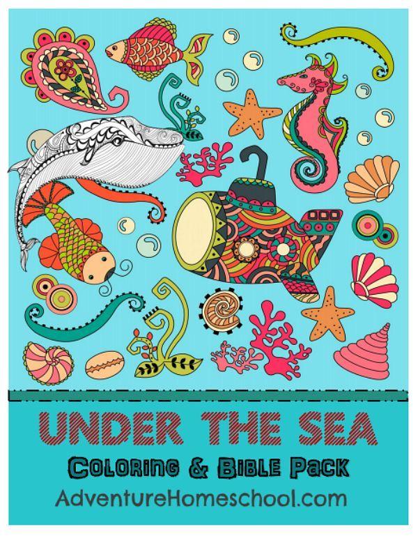 Under the Sea coloring bible pack #free #homeschool #besthsdeals #bible #adventureHS #adultcoloring #oceantheme