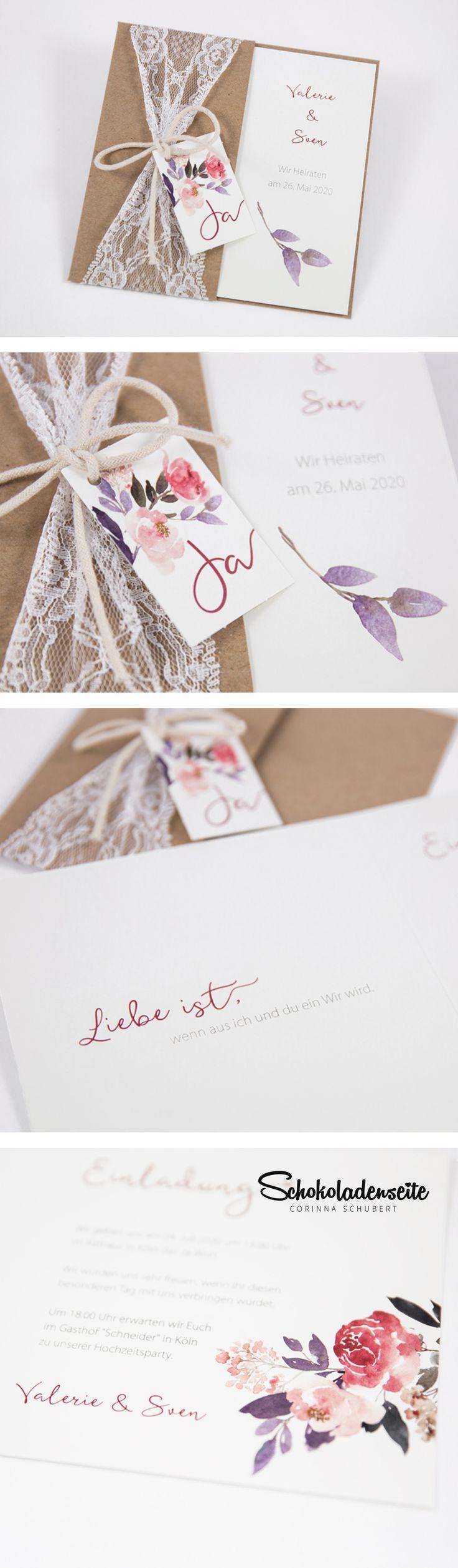 Schauen Sie sich diese schöne Einladungskarte mit Blumendruck und Rustica an …