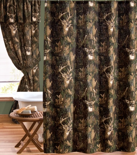 Camo Deer Browning Shower Curtain With Whitetail Deer Intermingled In The  Camouflage Pattern And The Buckmark