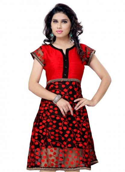 Red & Black Net Brasso Indowestern Kurti