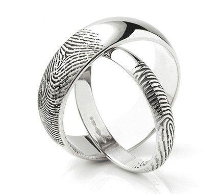 Plain wedding rings with fingerprint