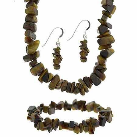 Sterling silver tiger eye stone chip jewelry set for Fish eye hook