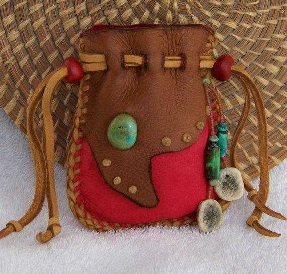 WALK SOFTLY deerskin Medicine Bag with Deer Antler, Turquoise, Mescal seeds