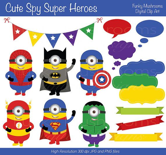 Digital Clipart - Cute Spy Super Heroes for Scrapbooking, Invitations, Paper crafts, Cards Making, commercial use INSTANT DOWNLOAD printable...