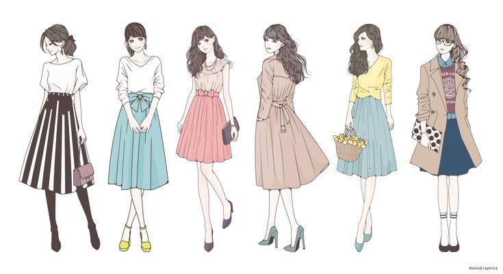 ファッションイラスト 女の子 おしゃれ イラスト 女性 イラスト アートスタイル