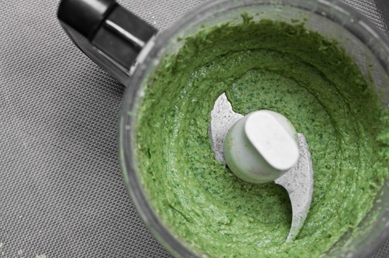 high protein & oil-free basil pesto (made with navy/cannellini beans)