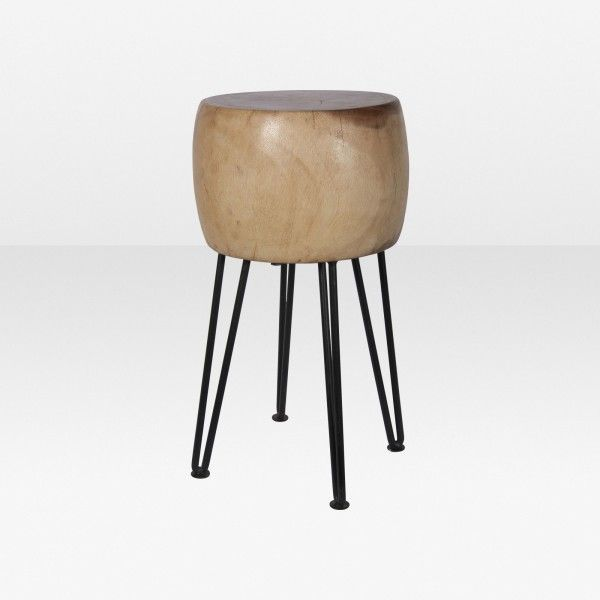 Round Wood Stool with Steel Legs. 11.5 x 19.5