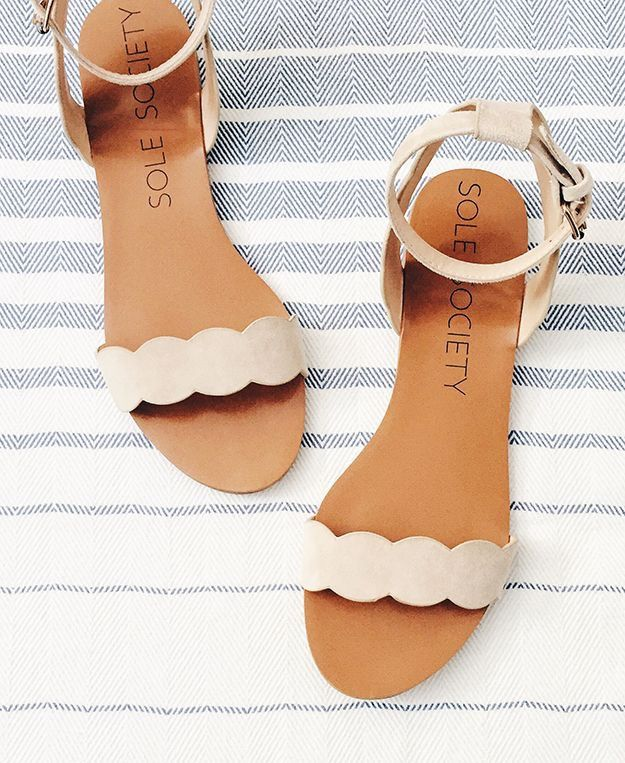 I like flat sandals and ones with straps around my ankles like these.
