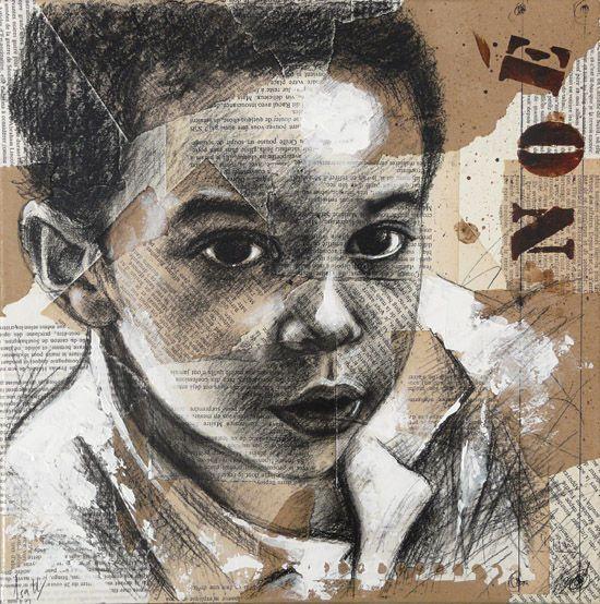 Portrait en techniques mixtes sur collages