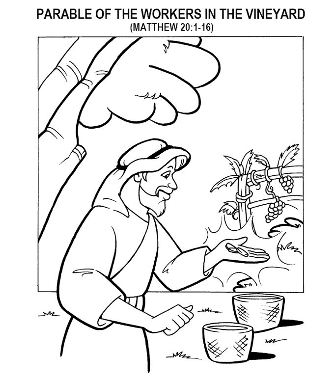 coloring page for matthew 201 16 parable of the workers in the