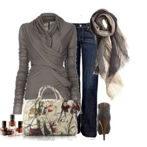 I love grays and neutral colors. And this cardi/sweater looks very flattering.