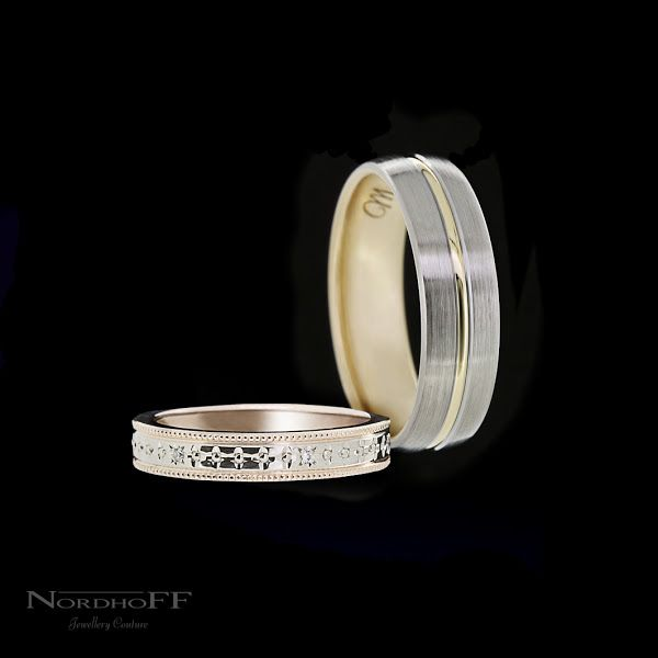 This custom made gents wedding ring is a nice classic profile, we have added a touch of polished yellow gold through centre and finished it off with a yellow gold lining to really add a subtle modern twist. This ladies wedding ring is meticulously hand engraved through the polished white gold centre, bright white evenly spaced diamonds add that extra sparkle, the rose gold edges feature milgrain detail and the inside of the band is the same rich warm rose gold.