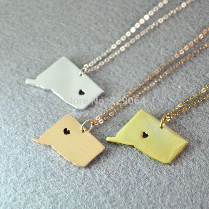 Персонализированные коннектикут ожерелье, Карта, Персонализированные государство карту в форме сердца вырежьте, Государственный шарм ожерелье, На заказ любой карта