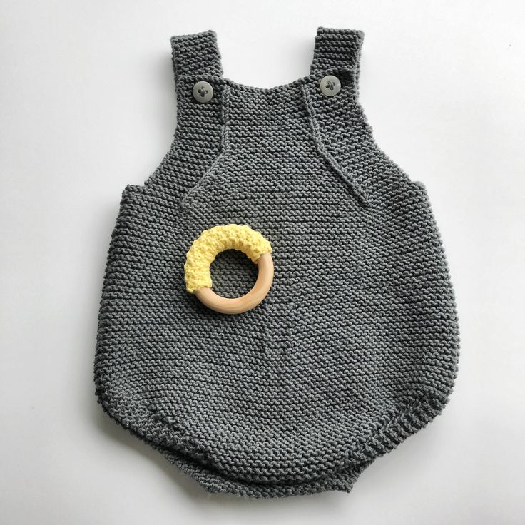 Romper teething ring set - knitted organic cotton - handmade wooden toy - baby shower gift - newborn present by mamaandfred on Etsy https://www.etsy.com/uk/listing/518018998/romper-teething-ring-set-knitted-organic
