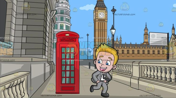 A Handsome Boy Dancing Gangnam Style At A Road Leading To The Big Ben Tower:  A boy with blonde hair wearing a light gray suit white dress shirt dark gray necktie and shoes parts his lips to smile while dancing Gangnam style. Set in a street with a gray colored road with traditional beautiful buildings made of gray stones and bricks a red phone booth lampposts withered tree leading to the great bell of the clock at the north end of the palace of westminster in london england.