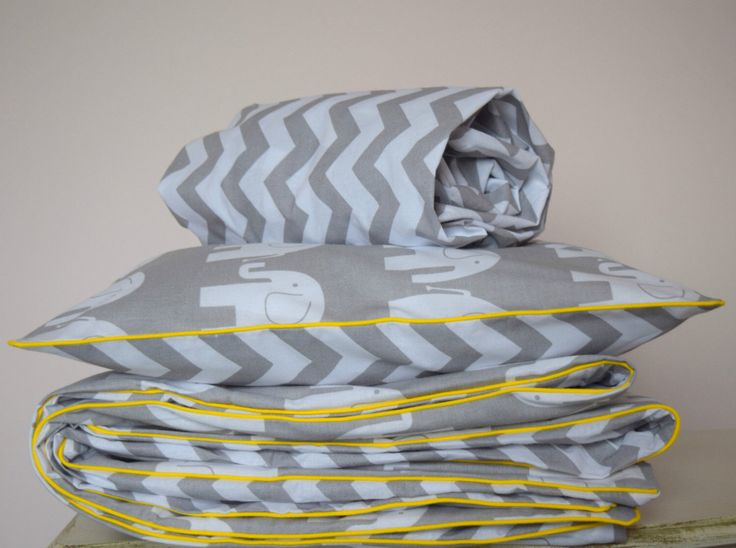 pure COTTON Cot Bed Duvet Cover Set & Fitted Sheet Grey Chevron Elephants with yellow piping nursery by Fabriccco on Etsy https://www.etsy.com/uk/listing/468633717/pure-cotton-cot-bed-duvet-cover-set