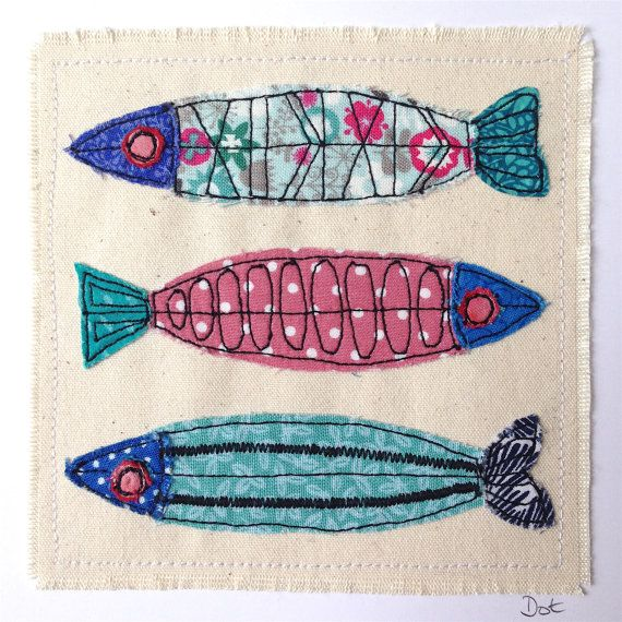 Fish greeting card, personalised machine embroidered stitched fabric applique…