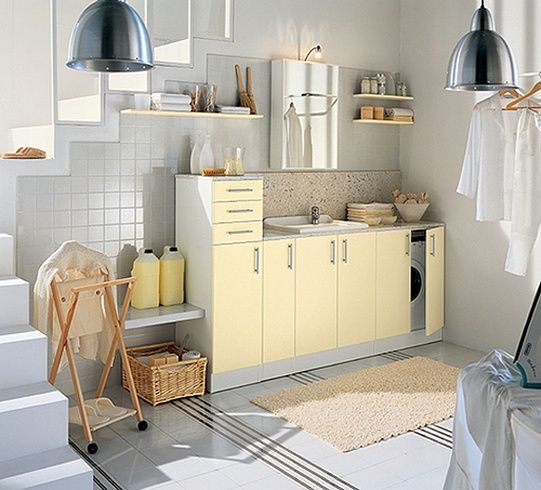 White and Colored Laundry Room Designs by Idea Group