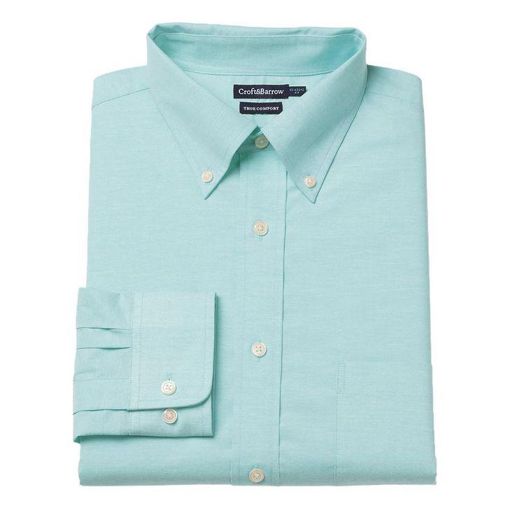 Men's Croft & Barrow® Stretch True Comfort Slim-Fit Easy-Care Dress Shirt, Size: 17-32/33, Light Blue
