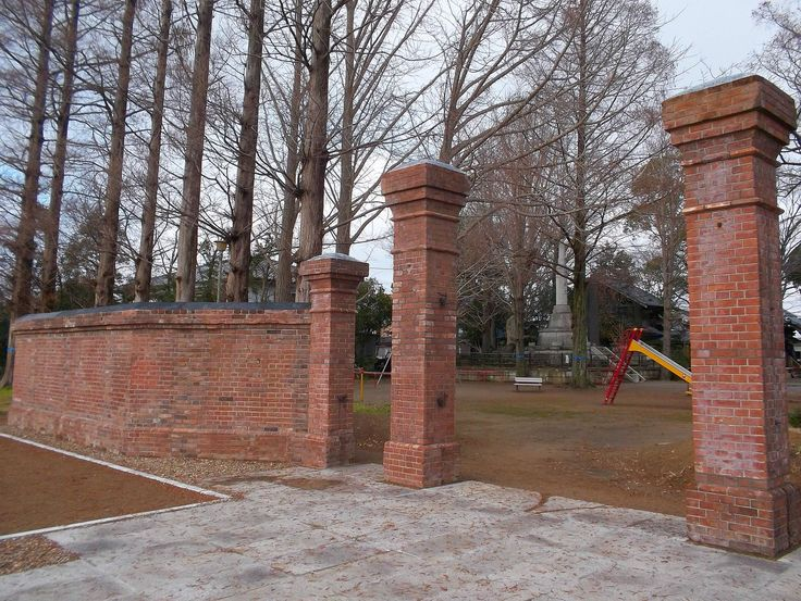Red brick wall of Mr.Moro-oka's residence built in Meiji era. Transferred and stored in 2015.