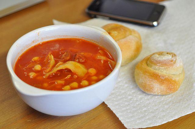 Spicy Chorizo, tomato & chickpea soup | soup | Pinterest