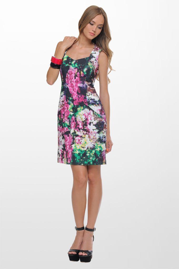 Sarah Lawrence - back lace printed dress.