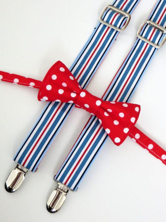 Jeux de bretelles & Tie (ARC ou le cou)-porteur de l'anneau, enfant en bas âge bébé garçon, enfant - rouge, bleu et blanc Polka Dots et rayures, Photo Prop