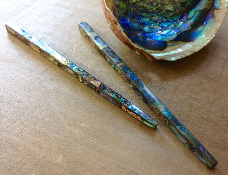 Beautiful polished Green Abalone inlay on a Hair Stick.  Abalone Pearlescence shimmers as it catches the light, resembling mermaid fin scales.   Each Hair Stick