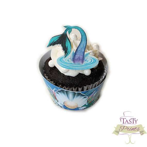 12 Edible Mermaid tail cupcake toppers   edible by TastyPrints, $12.00. These are perfect for a princess party or any kind of a water party.