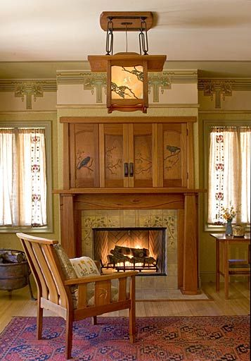 Room in Arts & Crafts/Craftsman/Mission Style - lantern and Voysey inspired mantel with flat screen TV doors over fireplace: Debey Zito Fine Furniture and Design - stained glass in lantern: Ted Ellison - wallpaper: Bradbury &  Bradbury - tiles: Stuart Compton - textiles: Dianne Ayers - architects: Steve Rynerson & Pat O'Brien