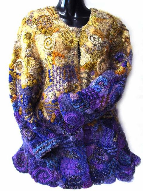 ";-) repinning another one of my creations.  thanks for the original pin. Prudence Mapstone 'Purple-gold-jacket' created using the methods described in Prudence's book ""Freeform: serendipitous design techniques for knitting & crocheting"" - see www.knotjustknitting.com for more information"