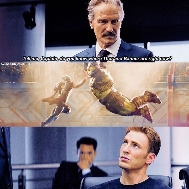 "Steve is just like hmmm not sure, and then Tony's in the back like, ""Don't look at me. I don't know a thing..."""