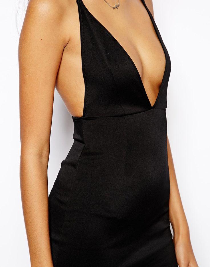 Imagen 3 de Vestido ajustado de neopreno con escote pronunciado y tirantes en la espalda de Oh My Love