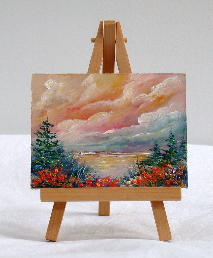 Ocean With Pine Trees 3x4, original, oils, small painting, pine trees by valdasfineart on Etsy