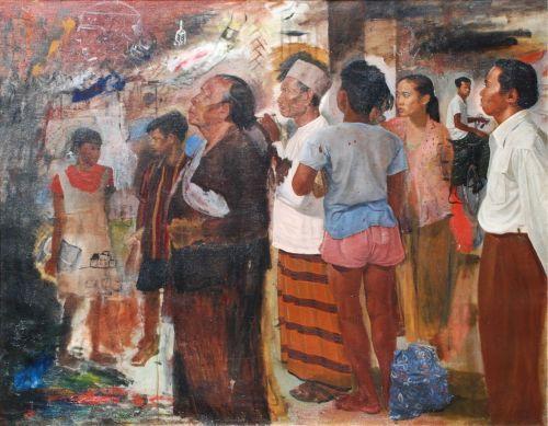 S. Sudjojono - Perusing a Poster