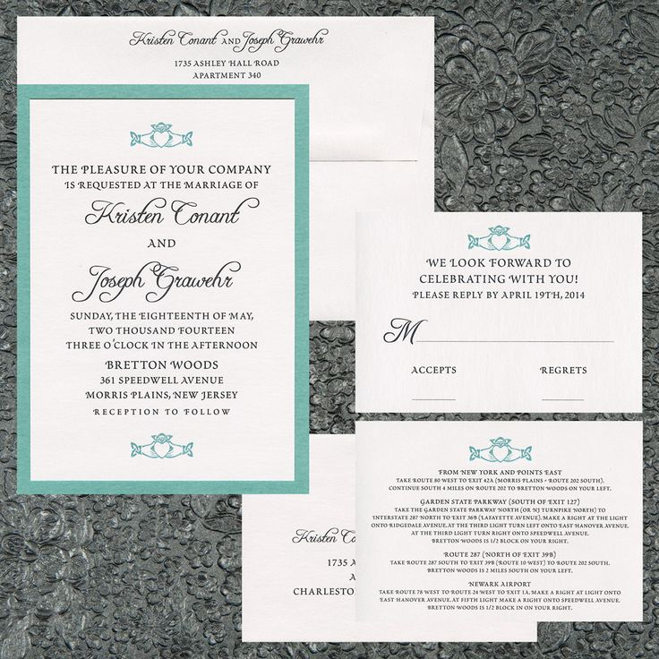 two layer wedding invitation tiffany blue metallic