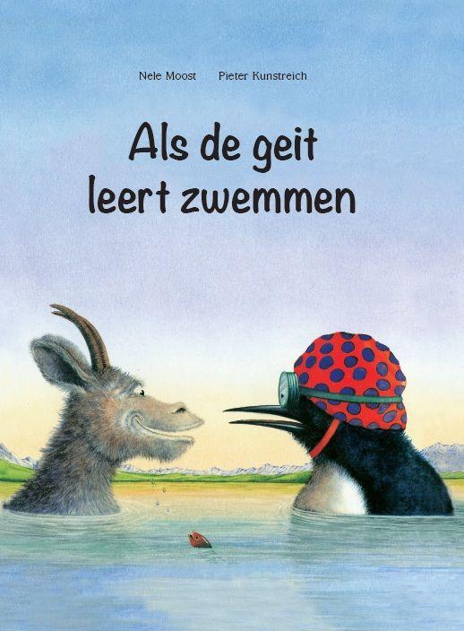 """Als de geit leert zwemmen, door Nele Moost & Pieter Kunstreich -   """"Ooit was er een tijd dat alle dieren naar school gingen. En allemaal moesten ze leren zwemmen, vliegen, rennen en klimmen."""" Deze dierenfabel is een grappig pleidooi dat alles op dezelfde manier aanleren niet leidt tot perfectie.  Binnenkort verkrijgbaar. Voor wie zeker wil zijn van een exemplaar kan nu Levendig Uitgever ondersteunen in de opstart."""