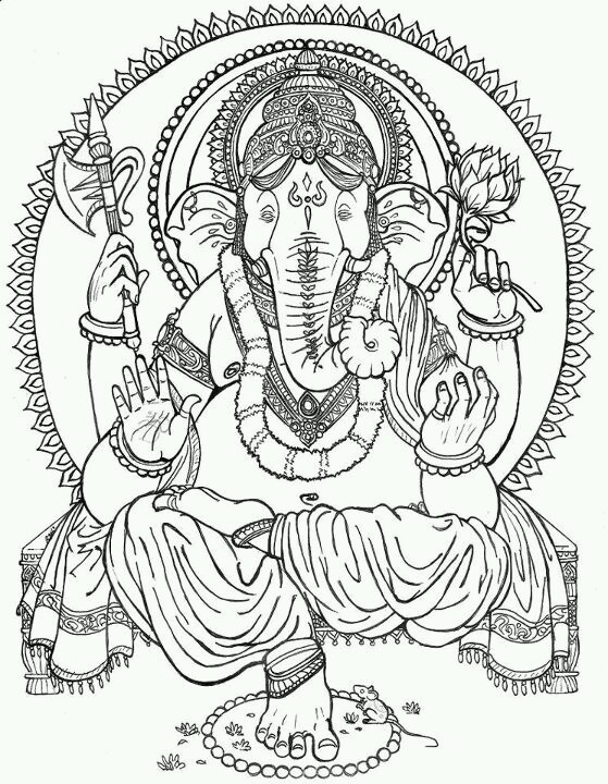 1000 images about draw on pinterest ganesh henna for Ganesha coloring pages